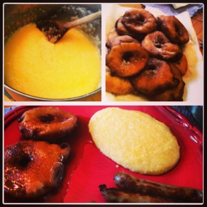 Apple Fritters and Cheese Grits